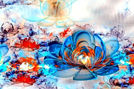 Abstract fractal glowing 3d flowers. Multicolored fractal painting on a light background resembles a watercolor drawing, a fantastic flower bed