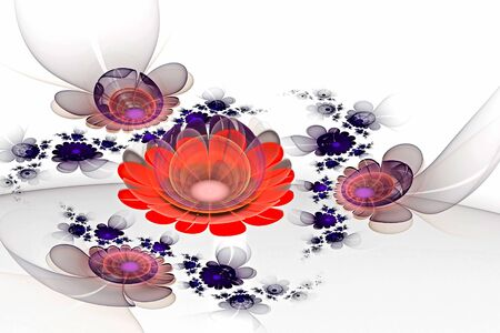 Abstract fractal glowing 3d flowers. Multicolored fractal painting on a light background resembles a watercolor drawing, a fantastic flower bed Archivio Fotografico - 138047050