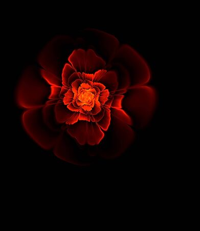 abstract fractal computer image of a flower with colorful red and black patterns, the flower looks like a jewel