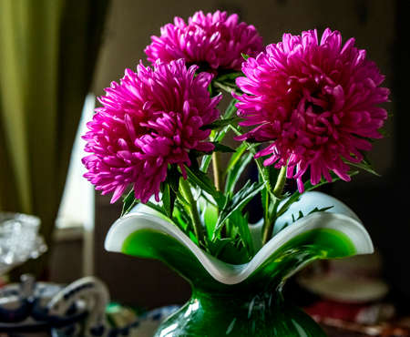 bright fresh purple asters in a green vase on the table
