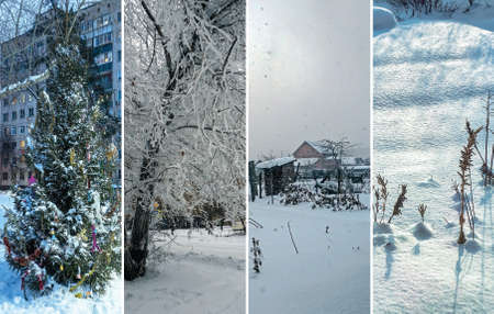 Collage of pictures on the theme of winter, snow and cold 免版税图像
