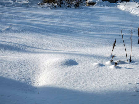 shadows on the morning snow, snow-covered tracks, holes, winter landscape 免版税图像
