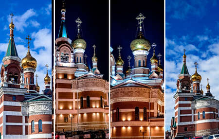 The Temple Of The Holy Great Martyr George The Victorious in Chelyabinsk, view of a cold winter night 免版税图像