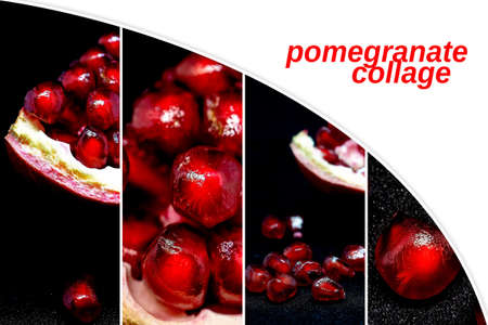 slice the pomegranate with red grains on a black background, a narrow focus area 免版税图像 - 163993594