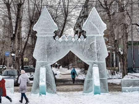 ice gates at the New Year's playground, South Ural, Chelyabinsk