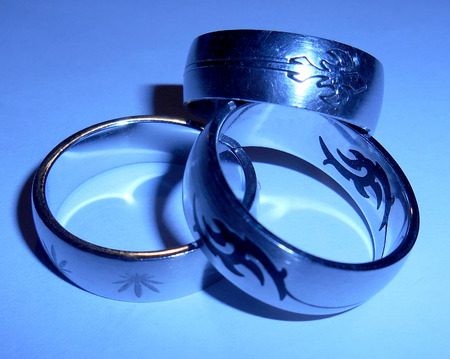Three stainless steel rings photo