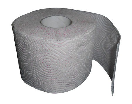 rolled up sleeves: Toilet paper isolated on white