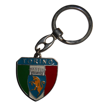 short phrase: Souvenir key-chain from Turin, Italy, Isolated on white background