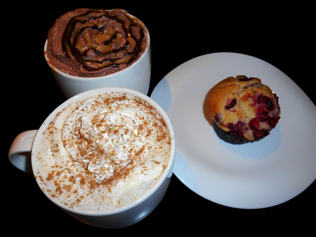Latte coffee, Hot chocolate and cranberry muffin photo