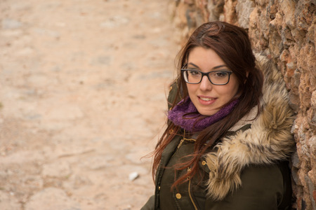 messenia: Beautiful young caucasian girl posing outdoors in Monemvasia, Greece. Stock Photo