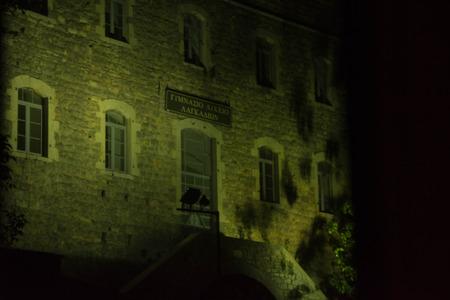 Dark and creepy view of the school in Langadia village, Greece Stock Photo