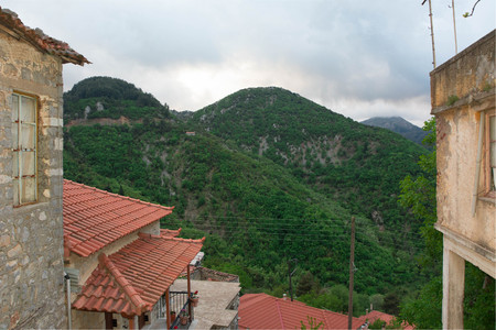 Nice view of Langadia Village and its mountains in Greece. Stock Photo