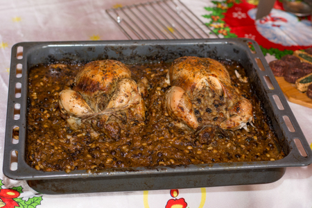 traditional greek christmas food stuffed chicken stock photo 79326497 - Greek Christmas Food