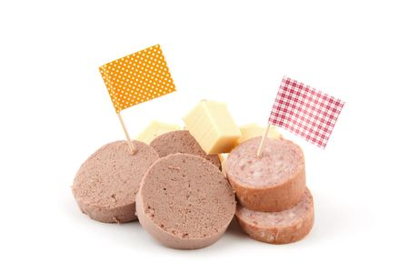 chees: partysnakcs,chees en sausage isolated on white background
