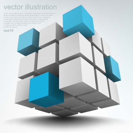 Vector illustration of 3d cubes Illustration