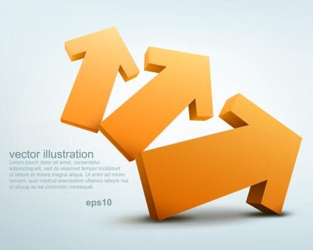 three orange: Vector illustration of 3d arrows Illustration