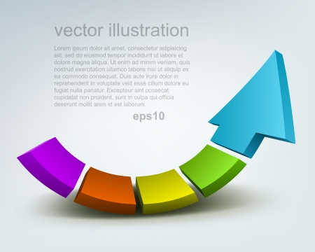 Vector illustratie van 3d pijl Stock Illustratie