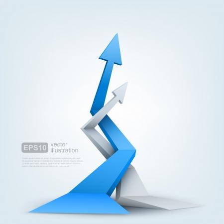 crecimiento: Ilustración vectorial de flechas 3d