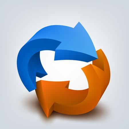 curve arrow: Vector illustration of 3d arrows Illustration