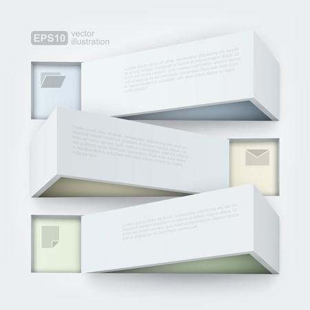 three shelves: Abstract 3d frames