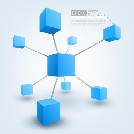 redes de mercadeo: Vector ilustración de los cubos 3d