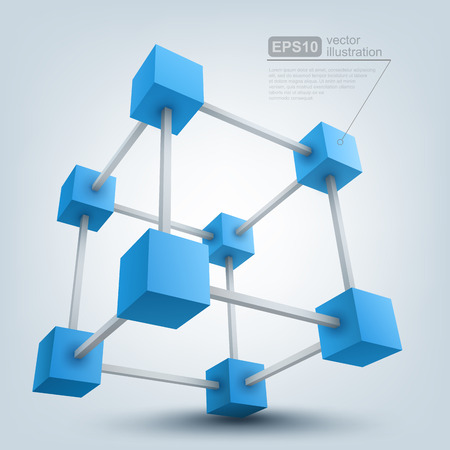 construction management: Vector illustration of 3d cubes Illustration