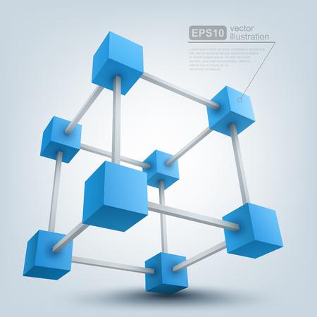 box construction: Vector illustration of 3d cubes Illustration