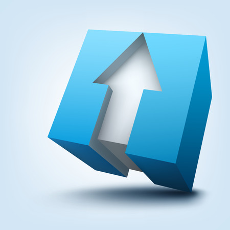 Vector illustration of 3d cube with arrow Illustration