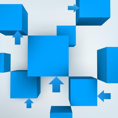 blue 3d blocks: Vector illustration of 3d cubes with arrows Illustration