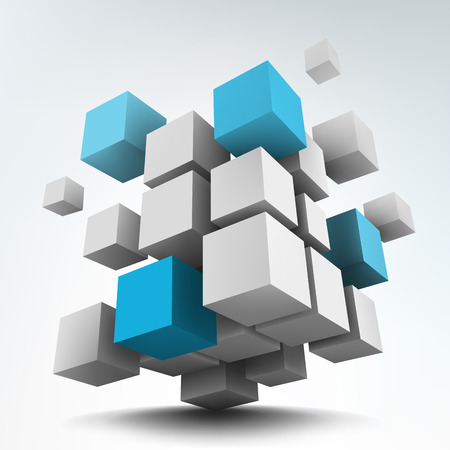 Vector illustration of 3d cubes Çizim