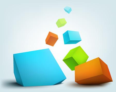 Vector illustration of 3d cubes Ilustração