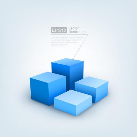 building blocks business: Vector illustration of 3d cubes Illustration