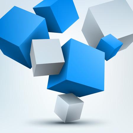 abstract 3d blocks: Vector illustration of 3d cubes Illustration
