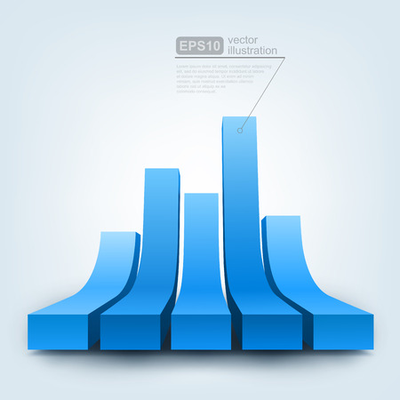 abstract 3d blocks: Vector illustration of 3d graph