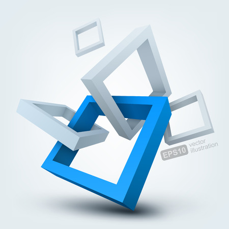 construction management: Vector illustration of 3d shapes