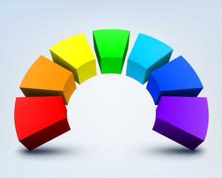 circulos concentricos: Ilustración vectorial de colorido abstracto del arco iris 3d