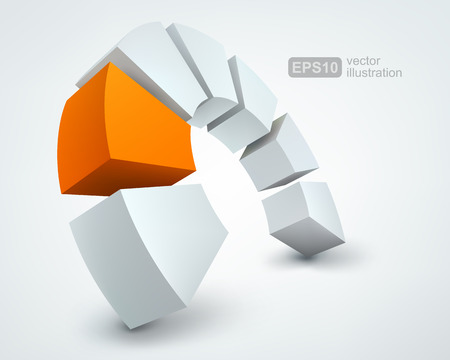 circle shape: Vector Illustration of abstract 3d shapes