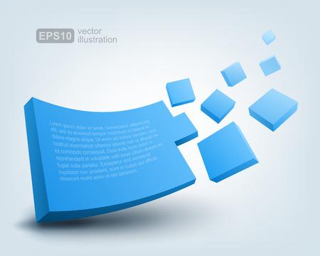 blue 3d blocks: Vector illustration of 3d shape