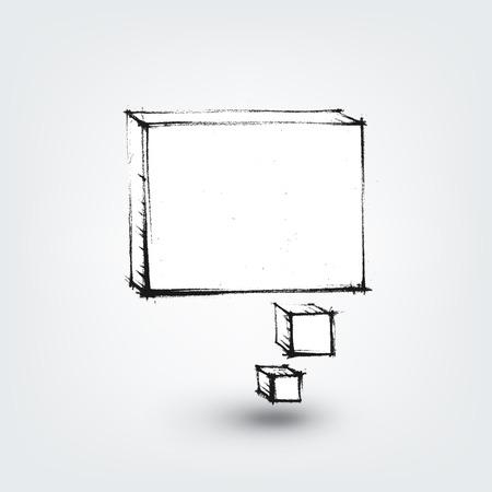 Vector design element. Hand drawn banner on white background