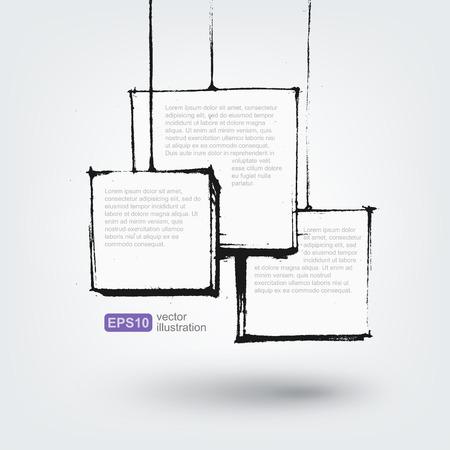 grunge: Vector design element. Hand drawn banners on white background
