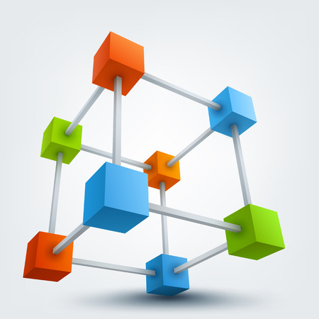 Vector illustration of colored 3d cubes with connections