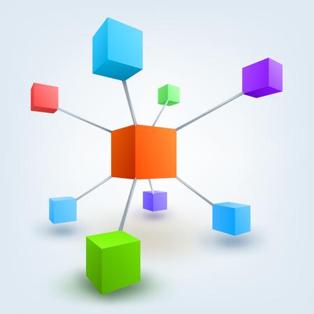 Vector illustratie van gekleurde 3d kubussen met verbindingen