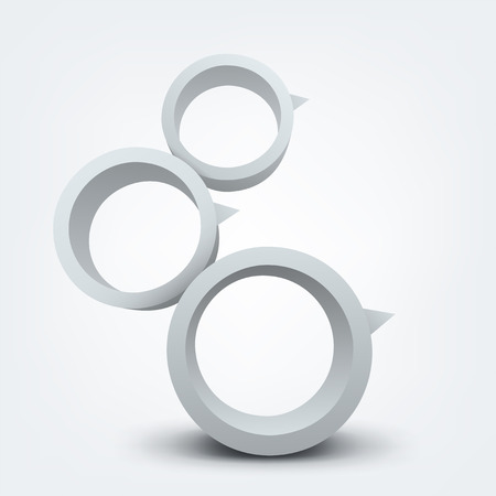three pointer: Abstract vector illustration of white 3d rings with place for text Illustration
