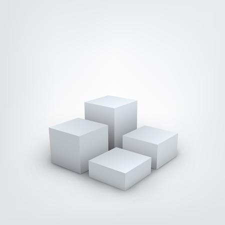 Illustrazione vettoriale di bianco cubi 3d su sfondo bianco Archivio Fotografico - 38467811