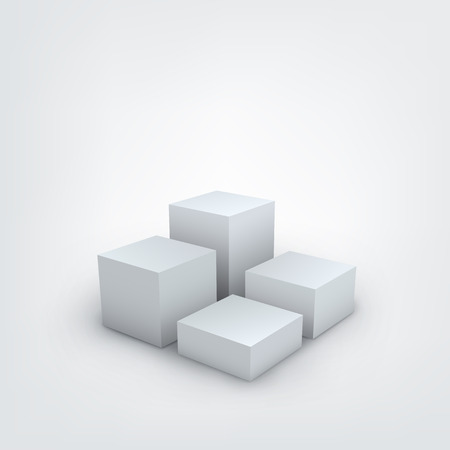Vector illustration of white 3d cubes on white background