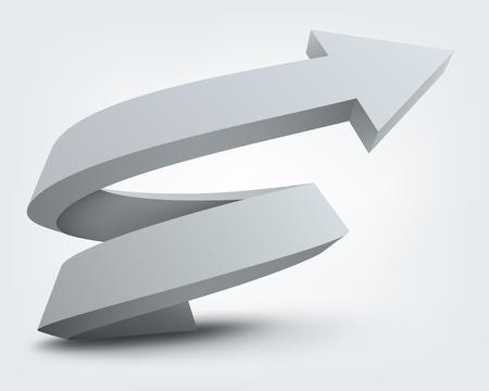 3d shape: Abstract vector illustration, white 3d arrow