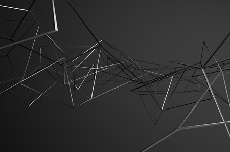 Abstract 3d rendering of chaotic metal structure. Dark background with chrome lines in empty space. Futuristic steel shape.