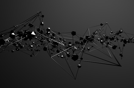 Abstract 3d rendering of chaotic metal structure. Dark background with chrome lines and low poly spheres in empty space. Futuristic steel shape. Banco de Imagens
