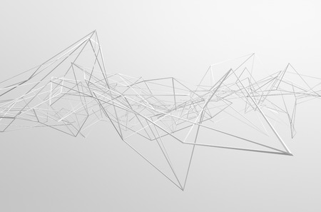 Abstract 3d rendering of chaotic structure. Light background with lines in empty space. Futuristic shape. 免版税图像 - 38994850