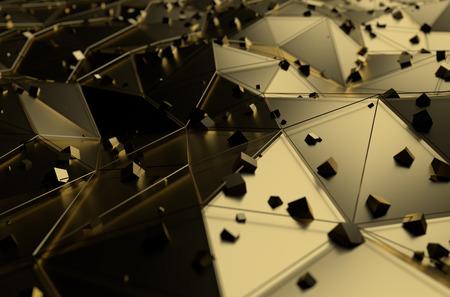 perspectiva lineal: Resumen representaci�n 3D de superficie de oro con cubos ca�ticas. Fondo con l�neas futuristas y bajo la forma de poli. Foto de archivo